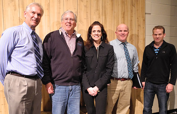 From left are Pat Ciccantelli, Superintendent of Aurora City Schools; Tom Carr, President of ASF; Jesse Weinberger of OvernightGeek University; Mark Abramovich Principal at Harmon Middle School; and Rob Bates Trustee with ASF