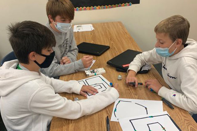Jessica Matousek's Comp/tech class's are learning to code with Ozobots. The Ozobots teach an approachable method of basic line and visual coding in an engaging way.